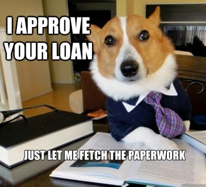 Corgi in suit: I approve your loan. Just let me fetch the paperwork.