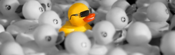 A colorful rubber duck among grayed-out ones