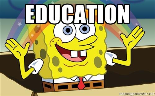 "Spongebob showing a rainbow that says ""EDUCATION"""