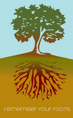 Tree with visible roots: Remember your roots