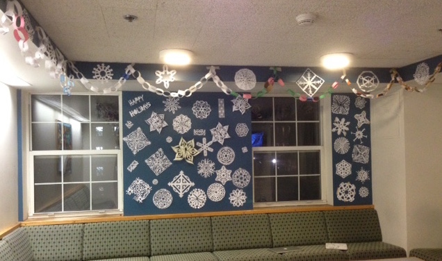The Lounge wall, decked in handmade snowflakes...
