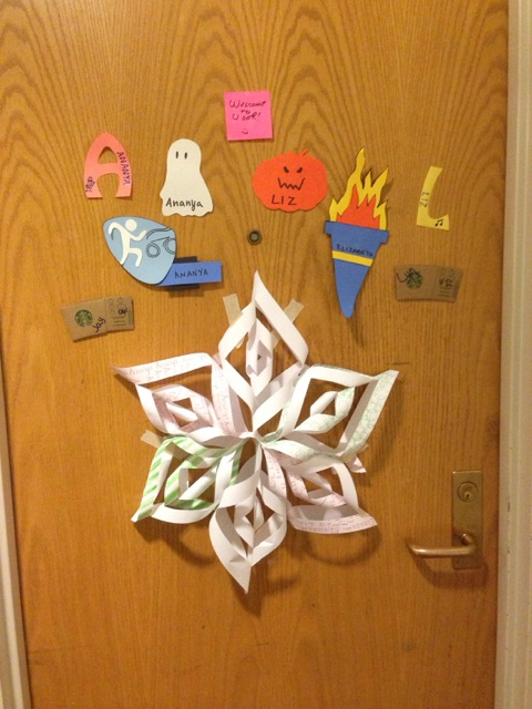Paper snowflake on dorm door
