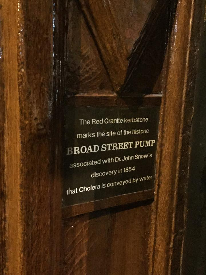 The Red Granite kerbstone marks the site of the historic BROAD STREET PUMP associated with Dr. John Snow's discovery in 1854 that Cholera is conveyed by water