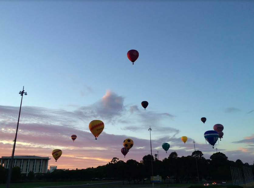 The Canberra Balloon Spectacular (air balloons in the sky)