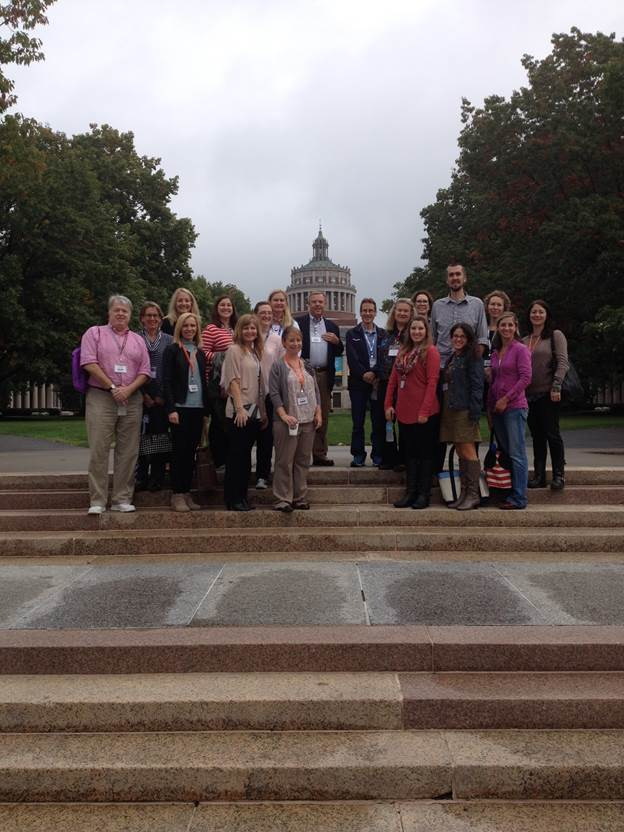Group photo of CORT attendees in front of Rush Rhees, 2016