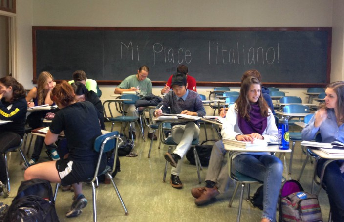 students learning Italian in a classroom