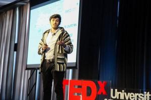 Anis Kallel, a University of Rochester Alumnus during his talk.