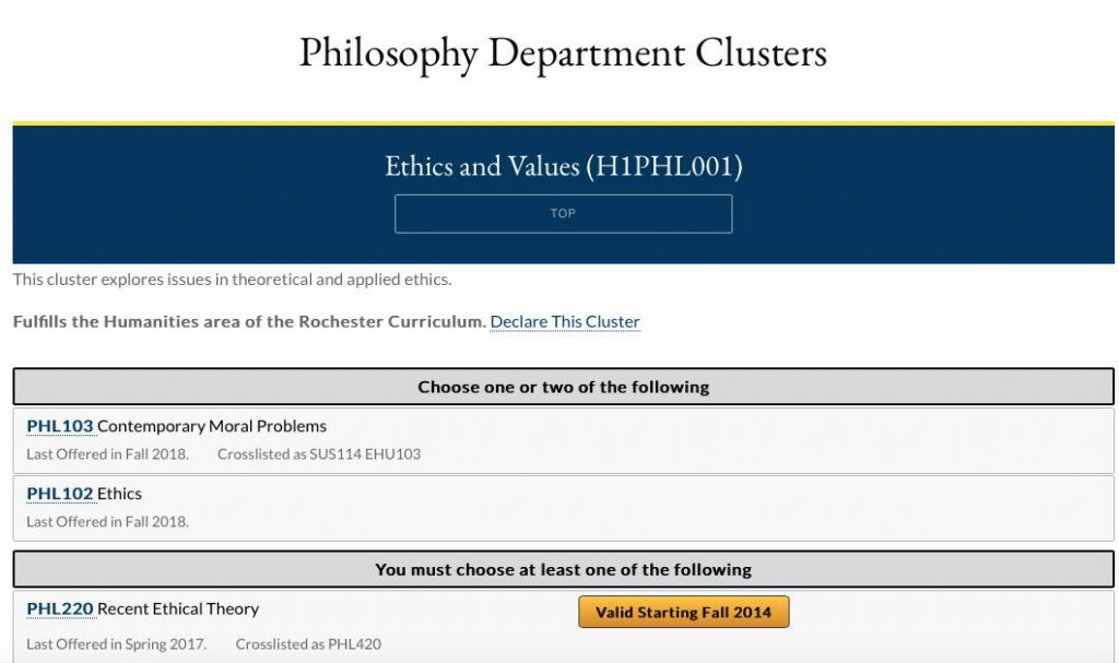 Screenshot of ethics and values courses