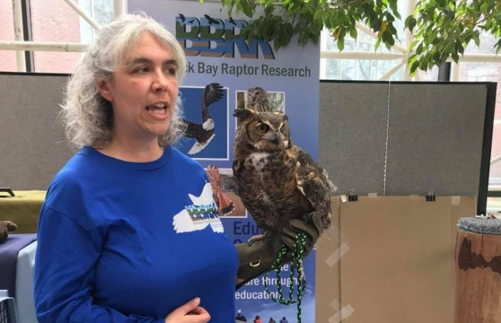 Braddock Bay Raptor Research rep with owl cropped