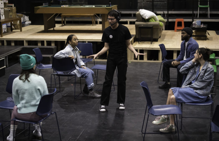 The cast of Everybody in rehearsal