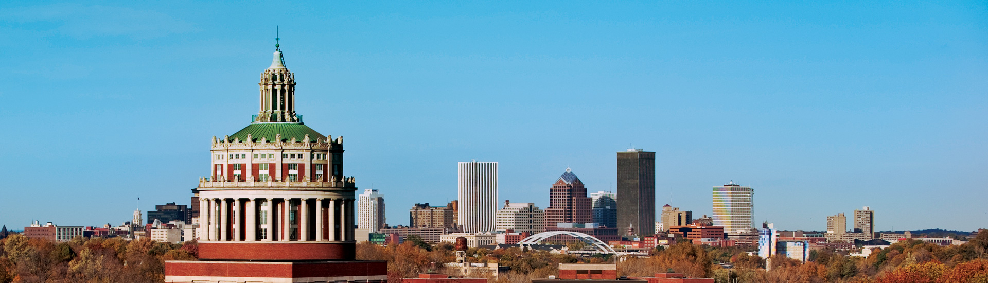 Skyline of Rush Rhees and downtown